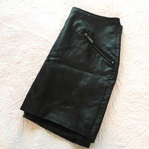 Dresses & Skirts - Mossimo Black Leather Quilted Mini Skirt 8
